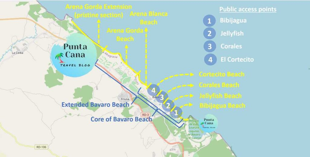 Map with an overview of Bavaro Beach