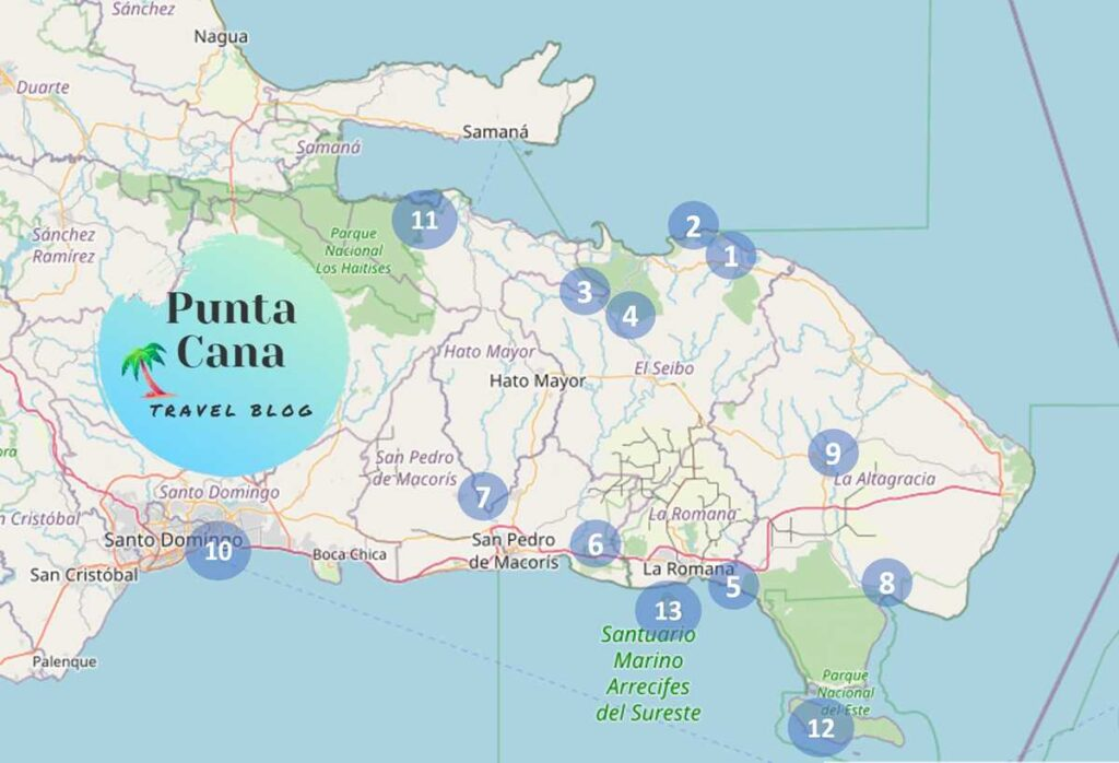 Map with the best day trips from Punta Cana in the Dominican Republic