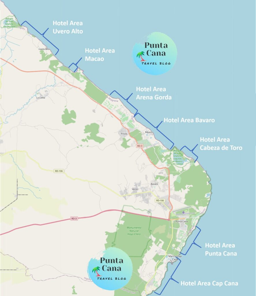An overview of all the different resort areas in Punta Cana