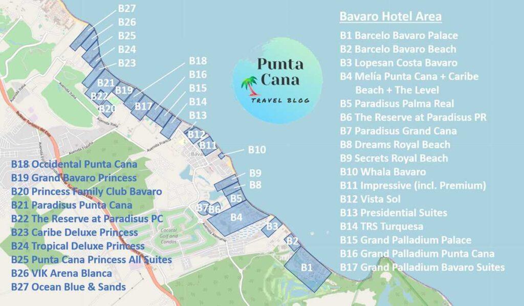 A map of Punta Cana resorts along Bavaro Beach