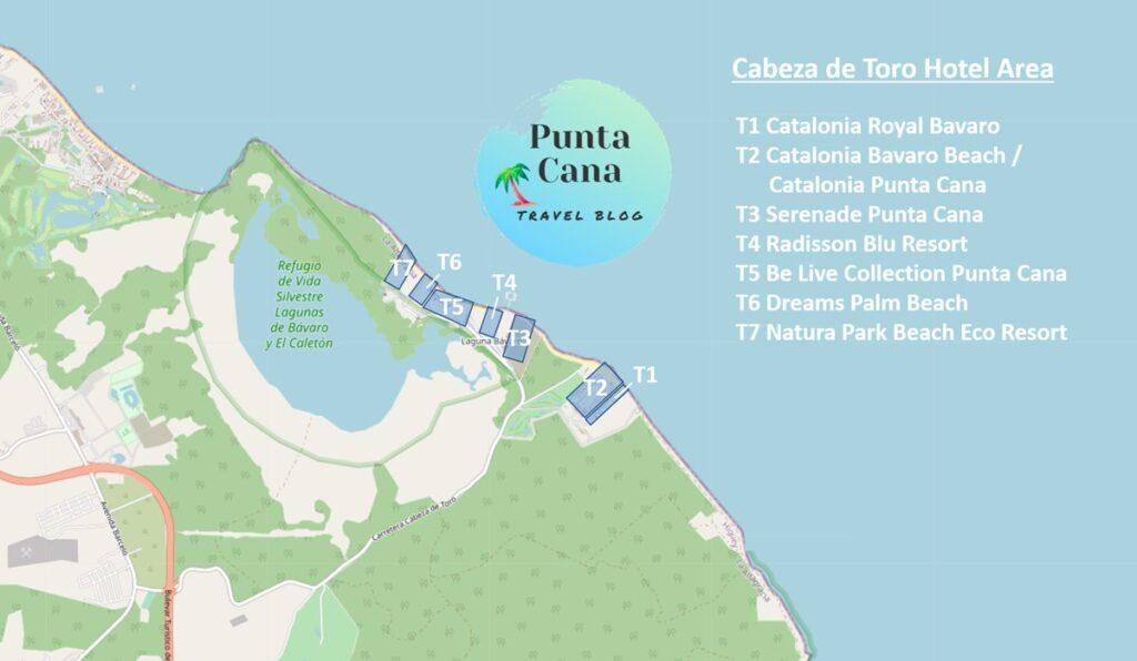 A map of Punta Cana resorts in Cabeza de Toro