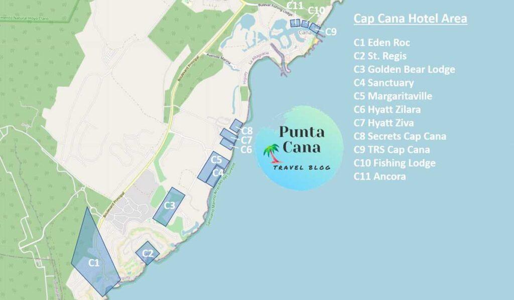 A map of Punta Cana resorts in Cap Cana