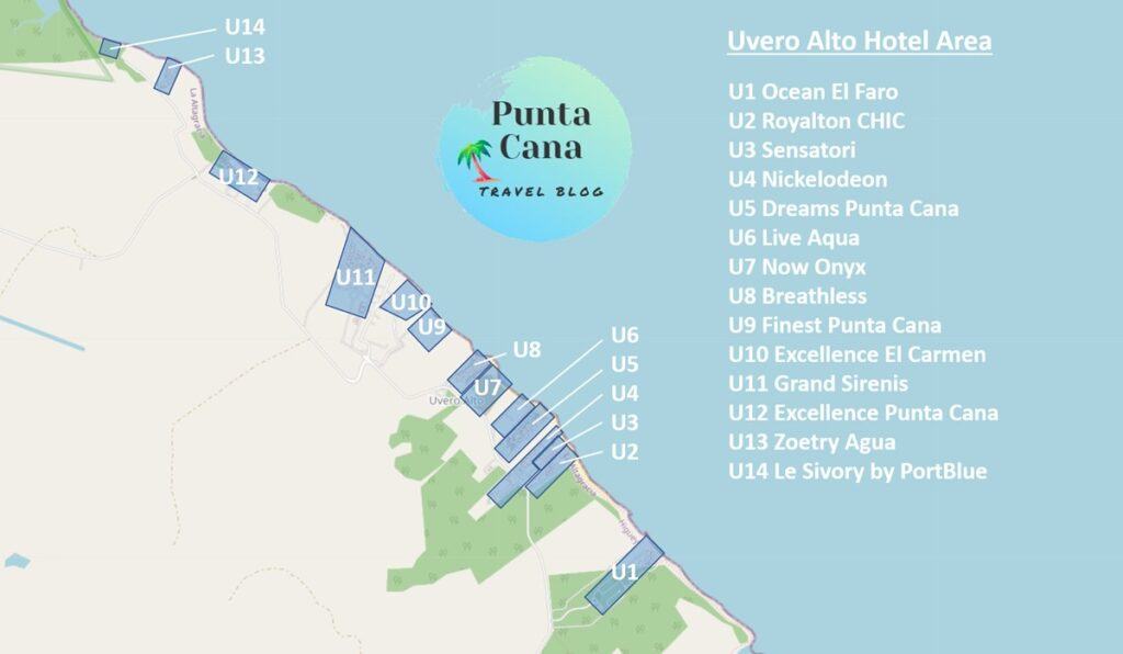 A map of Punta Cana resorts in Uvero Alto