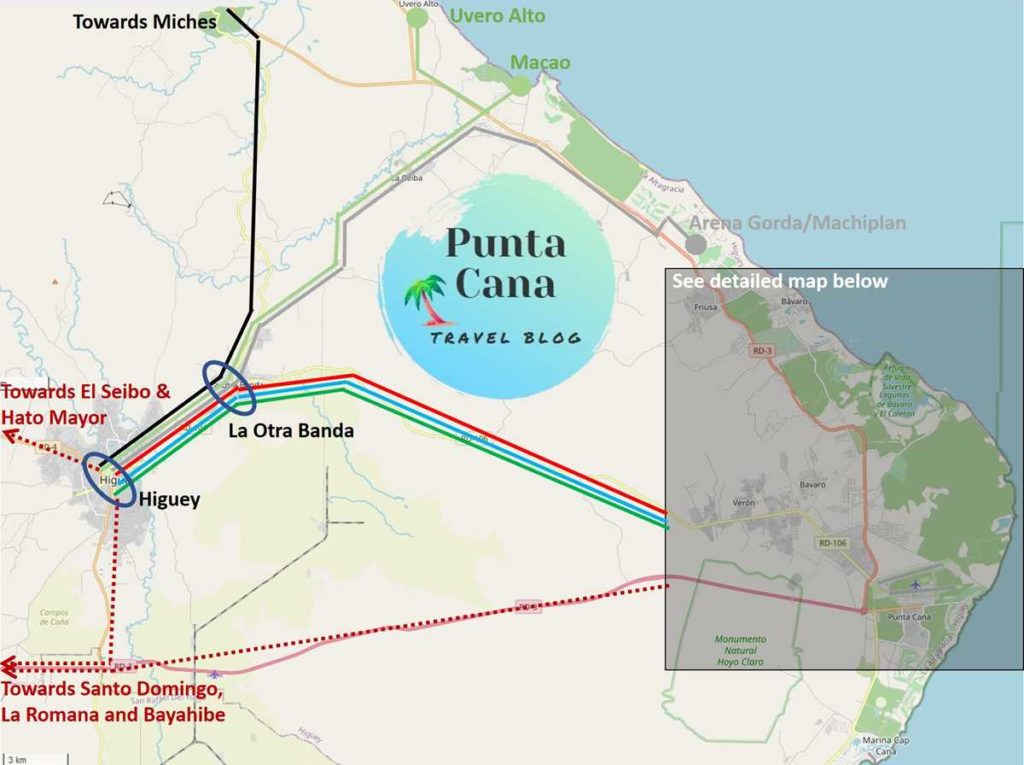 Map of the public transport system in Bavaro and Punta Cana
