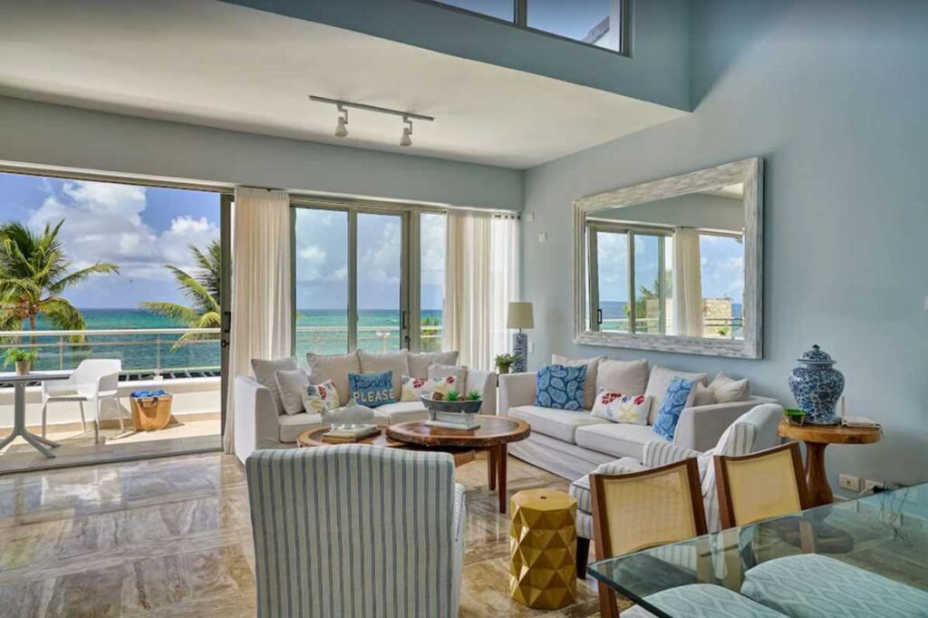 A beautiful beachfront apartment in Punta Cana, bookable through Airbnb and Vrbo