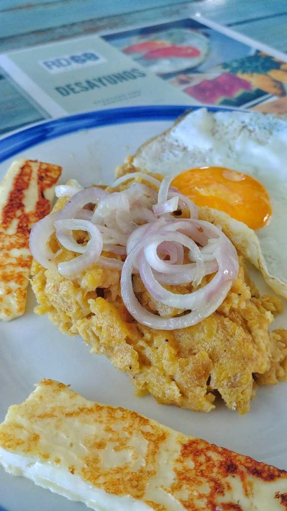 Typical Dominican breakfast in Punta Cana - Mangu, Cheese and Egg