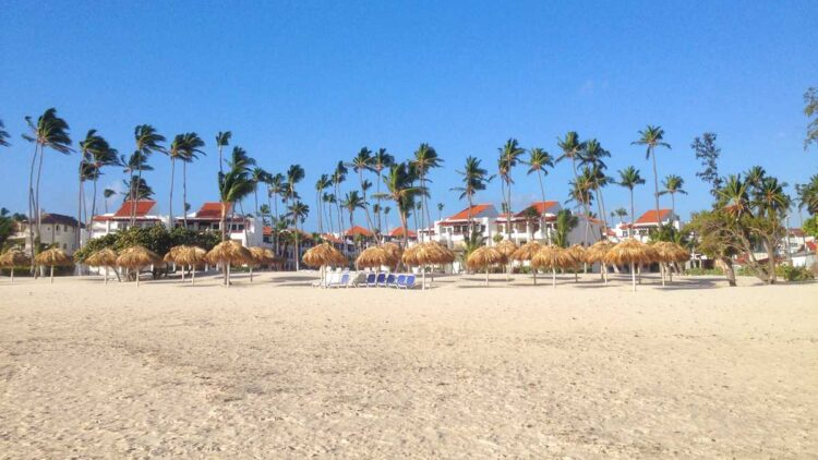 The Punta Cana public beach in the area of Los Corales