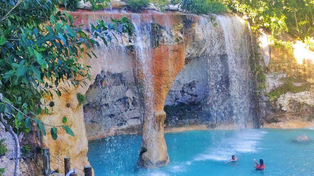 The artificial waterfalls Saltos Azules at Scape Park Cap Cana