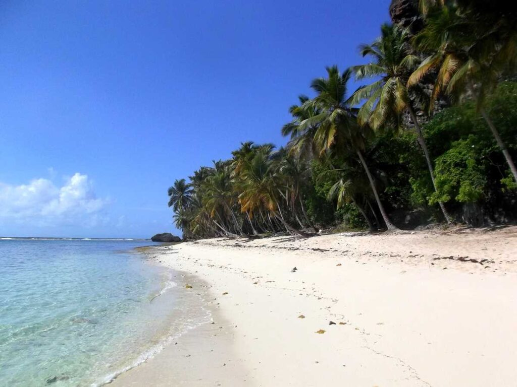 Playa Fronton on the eastern end of the Samana peninsula, only accessible by walking or by boat