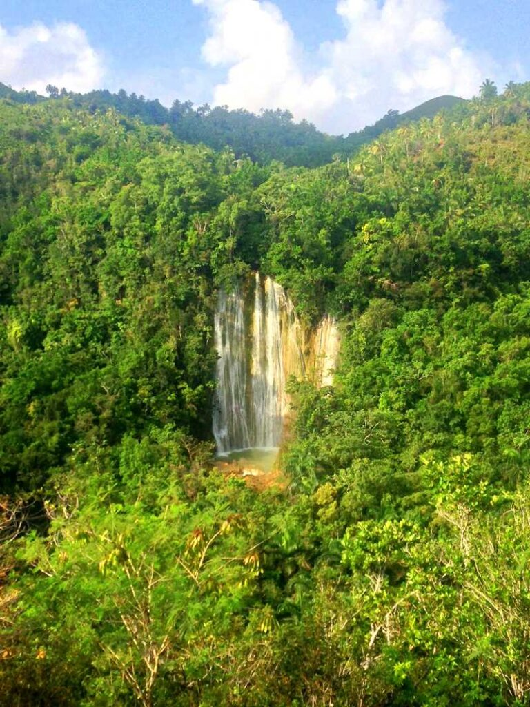 The waterfall of Salto El Limon, one of the most picturesque waterfalls in the Dominican Republic
