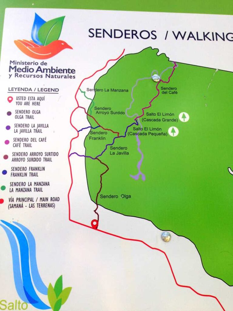 Hiking map for the hiking trails to the waterfall of Salto El Limon on the Samaná peninsula