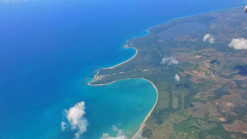 Playa Esmeralda seen from above, during the flight from Punta Cana in direction to the Samaná peninsula