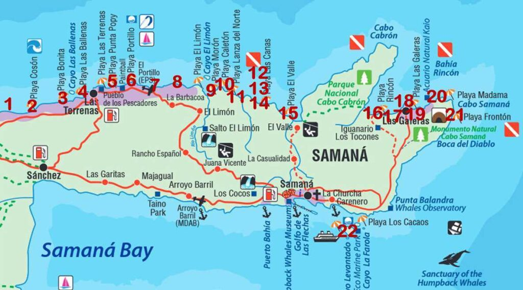 The best beaches of the Samaná peninsula in the Northeast of the Dominican Republic