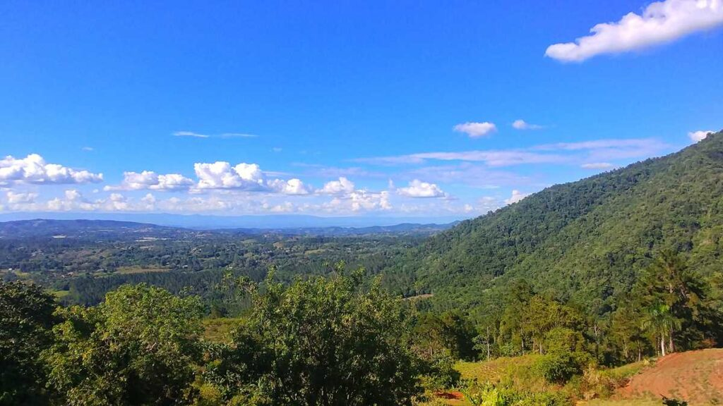 View over the valley of Jarabacoa in the central mountain area of the Dominican Republic