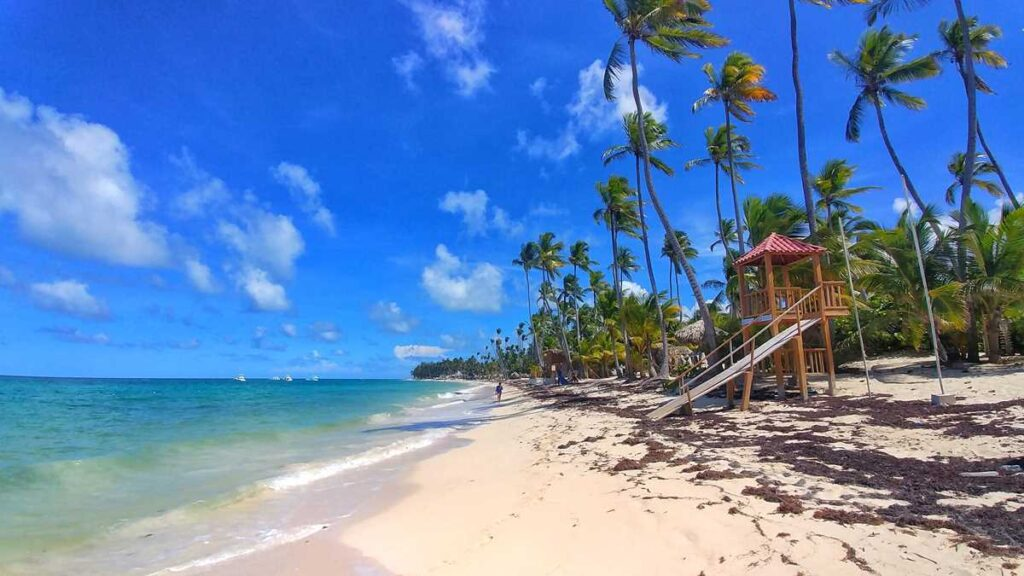 The pristine beach of Bavaro in Punta Cana during times of Coronavirus and Covid-19