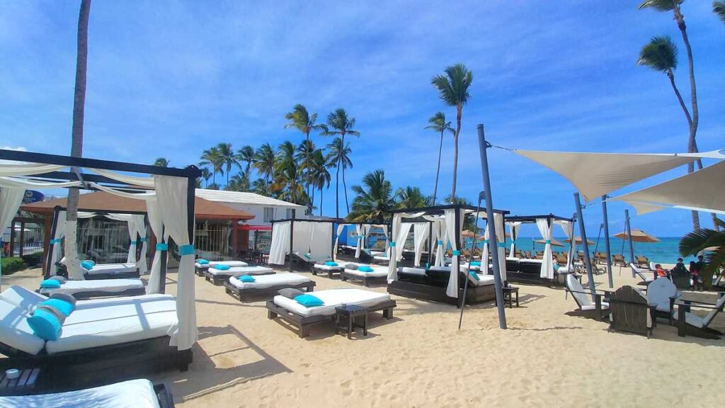 Beach section with bali beds at Presidential Suites, one of the many all-inclusive resorts in Punta Cana
