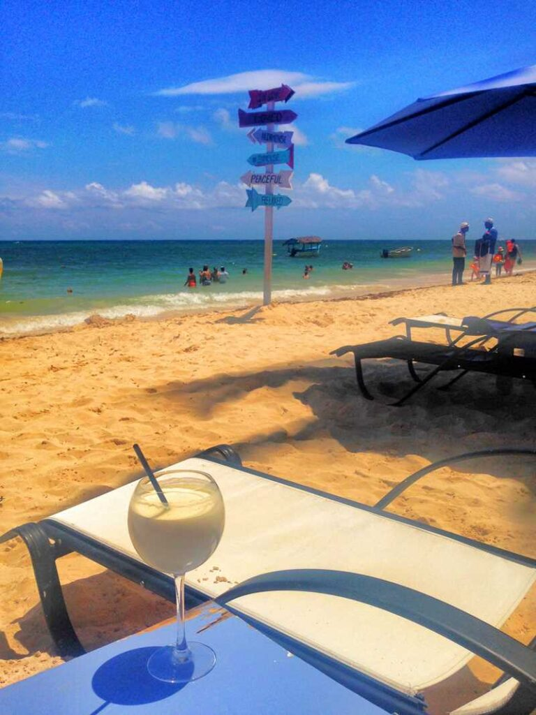 A Pina Colada cocktail right at the beach in Punta Cana