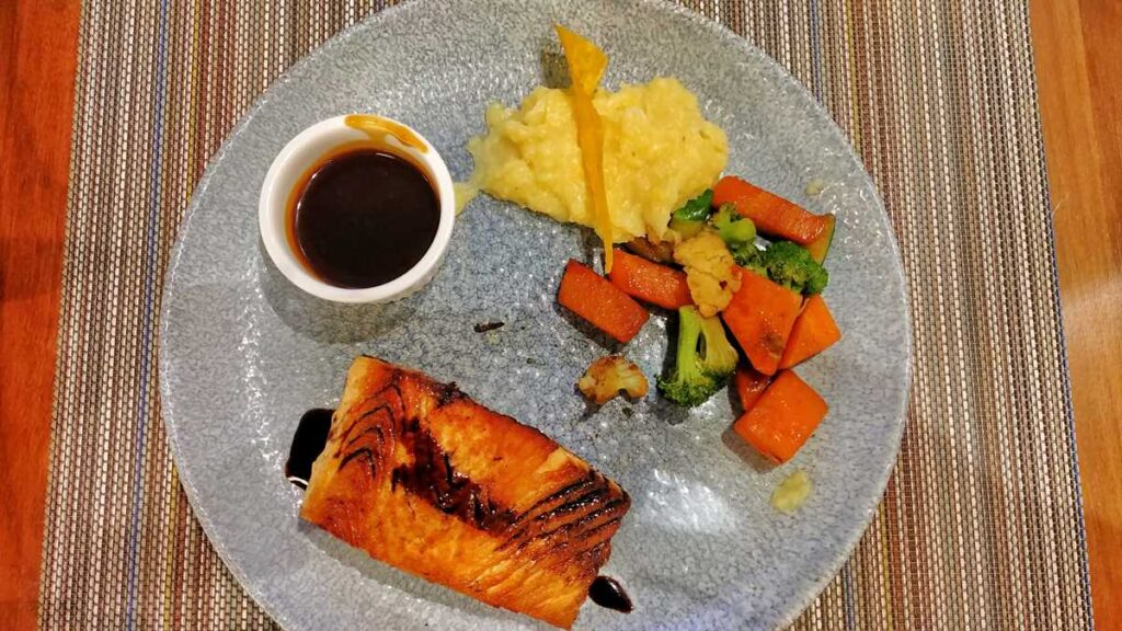 A delicious dinner at Bluewater Grill at Secrets Royal Beach