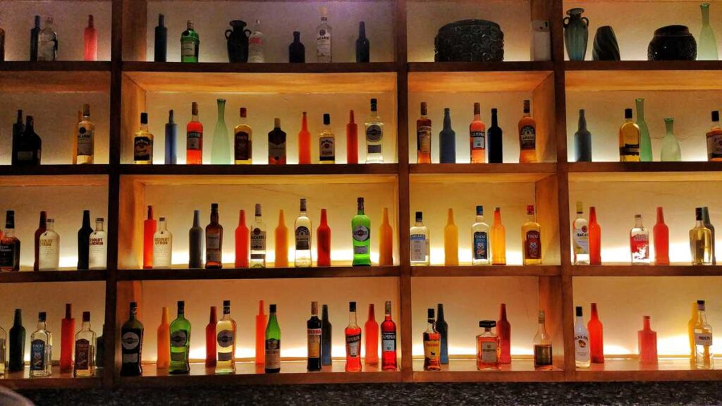 The bar selection with premium liqouors and alcohol at Secrets Royal Beach