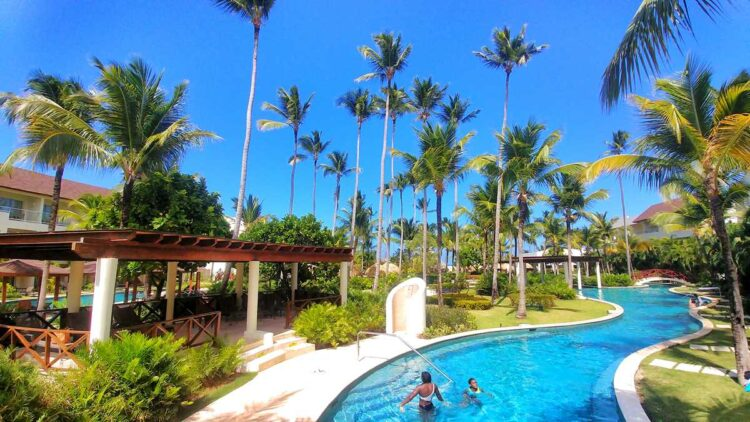 The lazy river and one of the longest pools in Punta Cana at Dreams Royal Beach