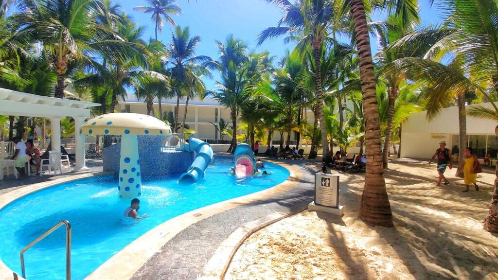 The mini water park at Riu Bambu in Punta Cana