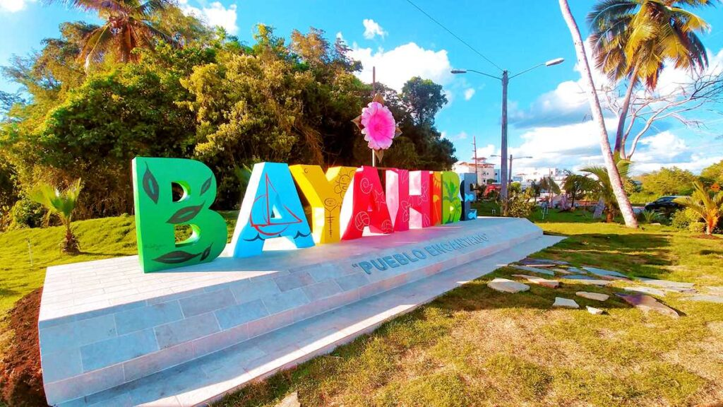 The welcome sign of Bayahibe in the Dominican Republic