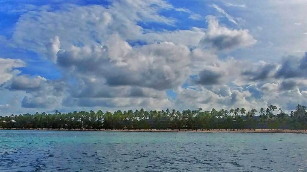 The beautiful coastline on a party boat tour and booze cruise in Punta Cana