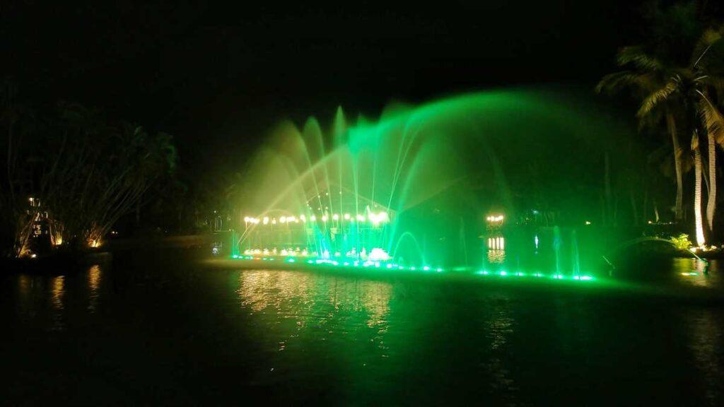 Beautiful lights and fountains at Grand Bavaro Princess in Punta Cana