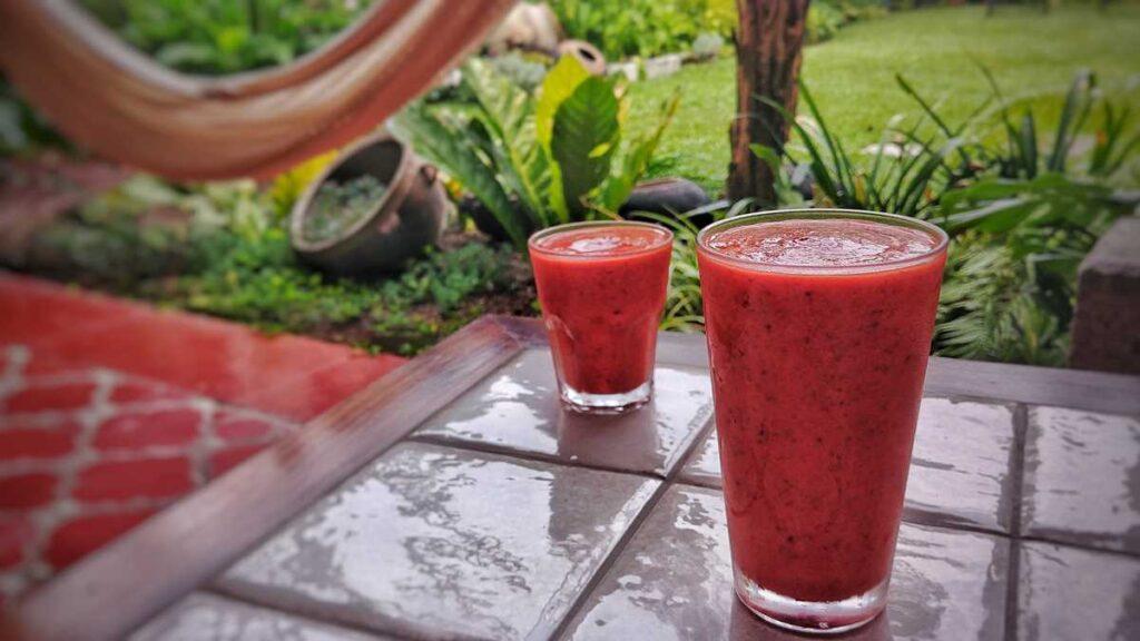 A delicious fresh tropical fruit juice